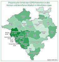 Zwischen den Kreisen und kreisfreien Städten in Westfalen-Lippe gibt es sehr große Unterschiede bei der COPD-Krankheitshäufigkeit. Bild: AOK NordWest Fotograf: AOK/hfr.