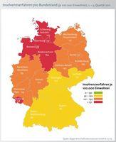 In der Detailanalyse bezogen auf die Einwohndichte schneiden die nördlichen Bundesländer schlechter ab. Am meisten Fälle meldet Bremen mit 227 Pleiten je 100.000 Einwohner, gefolgt von Hamburg (174), Niedersachsen (164) und Schleswig-Holstein (163). Der Bundesdurchschnitt bewegt sich bei 126 Fällen je 100.000 Einwohner. Am wenigsten Privatpleiten melden Bayern und Baden-Württemberg - mit 92 bzw. 94 Fällen je 100.000 Einwohner. Bild: obs/BÜRGEL Wirtschaftsinformationen GmbH & Co. KG