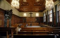 """Memorium Nürnberger Prozesse Saal 600  Bild: """"obs/Congress- und Tourismus-Zentrale Nürnberg/Christine Dierenbach"""""""