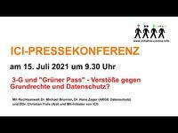 """Bild: Screenshot Video: """"ICI - Pressekonferenz: 3-G und """"Grüner Pass"""" - Verstöße gegen Grundrechte und Datenschutz?"""" (https://youtu.be/2N9L3vAWM90) / Eigenes Werk"""