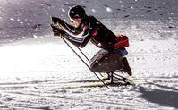 Der Profisportler und Rollstuhlfahrer Martin Fleig trainiert auf einem Skischlitten. Quelle: © Ruben Elstner, MikroTribologie Centrum µTC (idw)