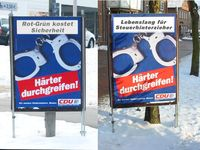 """CDU Wahlplakate die als hartherzig empfunden werden. """"Lebenslang für Steuerhinterzieher"""""""