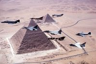 Aircraft over the pyramids during Bright Star '83