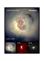 Der Perseus-Galaxienhaufen. Zwei vom zentralen Schwarzen Loch ausgesandte Jets (Gasströme) heizen das heiße Gas auf.  Bild: Astrophysikalisches Institut Potsdam