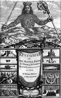 """Frontispiz von Hobbes' Leviathan. Zu sehen ist der Souverän, der über Land, Städte und deren Bewohner herrscht. Sein Körper besteht aus den Menschen, die in den Gesellschaftsvertrag eingewilligt haben. In seinen Händen hält er Schwert und Krummstab, die Zeichen für weltliche und geistliche Macht. Überschrieben ist die Abbildung durch ein Zitat aus dem Buch Hiob (41,25 EU): """"Keine Macht auf Erden ist mit der seinen vergleichbar"""".[1][2]"""