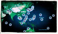 US-Militärbasen rücken an die Chinesische Grenze vor, Stand 2020