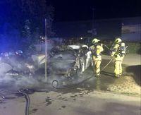 Brennendes Elektroauto Bild: Feuerwehr