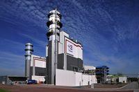 GuD-Kombikraftwerk Hamm-Uentrop (im Vordergrund die Abhitzekessel, im Hintergrund die Maschinenhäuser mit Gas- und Dampfturbine), (Symbolbild)