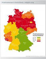Privatinsolvenzen in Deutschland im 1. Halbjahr 2009 - Privatinsolvenzen pro Bundesland je 100.000 Einwohner. Grafik: obs/BÜRGEL Wirtschaftsinformationen GmbH & Co. KG