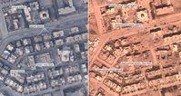 Zerstörte Wohnhäuser und Moschee