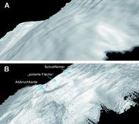 """´Vergleich von perspektivischen Kartenansichten der """"Moresby Seamount Abschiebung"""" unterschiedlicher Auflösung. A) klassische Qualität einer schiffsgestützten Echolotkartierung des nördlichen Moresby Seamount Berghangs. Die Auflösung beträgt 25 mal 25 Meter. B) Die neue AUV Karte der """"Moresby Seamount Abschiebung"""" mit einer Auflösung von 2 mal 2 Meter. Deutlich erkennt man eine ein mächtige Abbruchkante. Oberhalb dieser Kante sieht man eine poliert wirkende Fläche, dabei handelt es sich um die direkte Oberfläche der """"Moresby Seamount Abschiebung"""". Etwas höher erkennt man zahlreiche Schuttfächer im Auslaufbereich kleinerer Erosionskanälen. Grafik: Romed Speckbacher"""
