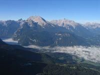 Berchtesgadener Alpen: Blick vom Kehlsteinhaus auf Watzmann und Hochkalter