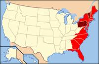 Die East Coast Staaten. Dunkel sind die Staaten hervorgehoben, die mit dem Atlantik nur über einen Fluss verbunden sind