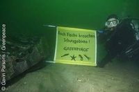Ein Greenpeace-Taucher neben einem der versenkten Steine im Sylter Außenriff.  Bild: Greenpeace