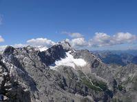 Blick von der Alpspitze auf den Zugspitzgipfel mit Höllentalferner 2007