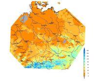 Die Abbildung zeigt, wo in Deutschland am Sonntag, 20.1.2013, Schnee lag und wie dick die Schneedecke dort jeweils ist. Grundlage der Darstellung sind Berechnungen  des SNOW-Verfahrens des DWD.  Grafik: DWD