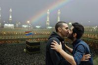 Stein des Anstoßes: Kuss vor der Kaaba.  Bild: Amed Sherwan / gbs Fotograf: Amed Sherwan / Florian Chefai