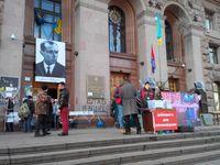 Porträt Banderas am Rathaus Kiew während des Euromaidan am 14. Januar 2014