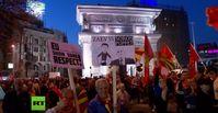"""Bild: Screenshot Youtube Video """"Mazedonien: Zehntausende protestieren gegen Einflussnahme aus Brüssel und gegen George Soros"""""""