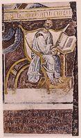 Älteste bekannte Darstellung von Augustinus in der Tradition des Autorbildes (Lateranbasilika, 6. Jahrhundert)