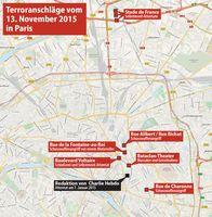 Anschlagsorte in Paris und Saint-Denis