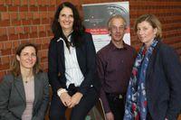 Karina Becker, Frauke Koppelin, Harald Büsing und Elke Ahlers (v.l.) informierten über psychische Belastungen in der Arbeitswelt. Quelle: Piet Meyer/ Jade HS (idw)