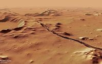 Bild: CC BY-SA 3.0 / ESA/DLR/FU Berlin / Perspective view of Cerberus Fossae