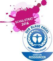 """Zum Schulstart: Angebot an Recyclingpapier im Einzelhandel nimmt zu. Aktionslogo """"Schulstart mit dem Blauen Engel"""". Bild: """"obs/Blauer Engel"""""""