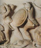 Reliefdarstellung eines makedonischen Schildträgers
