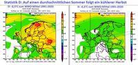 Die NOAA-Reanalyse zeigt nach einem durchschnittlich temperierten Sommer wie im Jahr 2021 (links) in den zehn Vergleichsjahren seit 1950 mit Mitteltemperaturen ebenfalls um 17,9°C (+- 0,3°C) einen noch etwas kühleren Herbst. Statistisch ist also 2021 in Deutschland ein noch etwas kühlerer Herbst zu erwarten, wie es der Sommer 2021 ausser im Juni überwiegend ebenfalls war. Bild: NOAA / WBDGE / Eigenes Werk