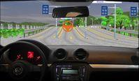 Der Blick aus dem zum Fahrsimulator umgerüsteten Pkw zeigt die virtuelle Fahrumgebung. Quelle: Foto: KIT,IMI (idw)