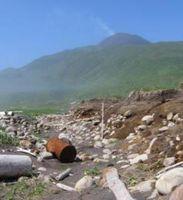 Das Bild nach dem Tsunami, Ainu Bay auf Matua Island. Bild: B. MacInnes