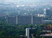 Blick auf die Deutsche Bundesbank in Frankfurt am Main (vom Main Tower aus)