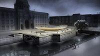 Überarbeiteter Entwurf Stand Herbst 2014: Nachtansicht vom Schinkelplatz aus betrachtet