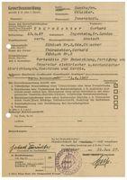 Gewerbeanmeldung von 1957 (Symbolbild)