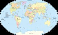 Politische Weltkarte aller Staaten (Kontinente in der falschen Größenordnung)