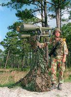 Die Javelin ist eine Flugabwehrrakete aus britischer Produktion. Das System ist von einem Mann einsetzbar und dient zur Bekämpfung von tieffliegenden Zielen.