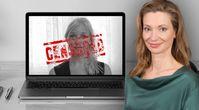 Bild: Hintergrund (Laptop-Mockup): Pixeden.com; Herzig: Screenshot Frank&Frei; Zensur-Schrift: Pixabay; Fürst: FPÖ; Collage: Wochenblick/Eigenes Werk