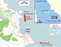 Kollisionsstelle (Kreuz rot, unten) und endgültige Position nach Wendemanöver (rot, Mitte) der Costa Concordia vor der Insel Giglio. Bild: J. J. Hornung / wikipedia.org