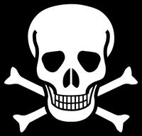 Der Schädel mit gekreuzten Knochen ist das traditionelle Piktogramm für Gift. Bild: de.wikipedia.org