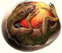 Künstlerische Rekonstruktion eines Therizinosaurus-Embryos