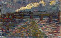 """Erich Heckel, Flusslandschaft mit Brücke und Zug, um 1905, Öl auf Pappe, 45 x 70 cm, Kunstsammlungen Chemnitz /  Bild: """"obs/ZDF"""""""