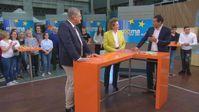 Prof. Dr. Jörg Meuthen im Gespräch mit Nicola Beer (FDP) und Moderator Mitri Sirin vom ZDF-Morgenmagazin am 8.5.2019