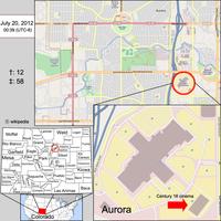 """Unten links: Karte von Colorado, Aurora ist auf der Karte markiertOben: Karte von AuroraUnten rechts: Position des Tatorts im Einkaufszentrum """"Town Center at Aurora"""""""