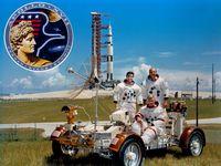Apollo 17 – v. l. n. r. Harrison Schmitt, Eugene Cernan, Ronald Evans