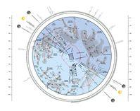 Gesamtplan der frühkeltischen Fürstengrabhügel mit eingetragenen Sternbildern. Grafik: A. Mees / RGZM