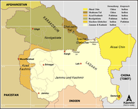 Kaschmir: umstrittene Gebiete und Gebietsansprüche (Indien, Pakistan, China). Bild: Ras67 / de.wikipedia.org