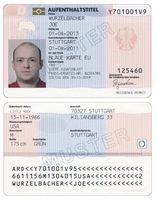 Vorder- und Rückseite einer Blauen Karte EU in Deutschland (Blue Card)
