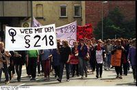 Demonstration für Abtreibung und gegen §218 in Göttingen, 1988