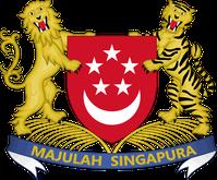 """Wappen Singapurs: Wahlspruch: """"Majulah Singapura"""" malaiisch für """"Vorwärts, Singapur"""""""